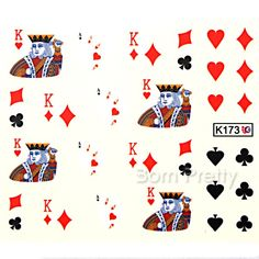 $1.86 Nail Water Decals Sticker King Spade Heart Diamond Club Cards Pattern - BornPrettyStore.com