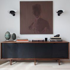 black console with storage