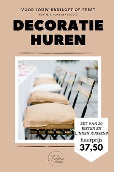 Set van linnen en rieten kussens te huur voor jouw bruiloft of feest! Klik op de afbeelding voor meer informatie.