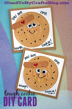 Cupcake Liner Tough Cookie Card Idea - Kid Craft Tutorial - Handmade Cards - Get Well Soon - Best Friends Forever - Teacher Appreciation - Mother's Day - Father's Day - Just Because - Thank You Card Winter Crafts For Kids, Paper Crafts For Kids, Crafts For Kids To Make, Summer Crafts, Beach Crafts, Kid Crafts, Fall Crafts, Classroom Crafts, Preschool Crafts