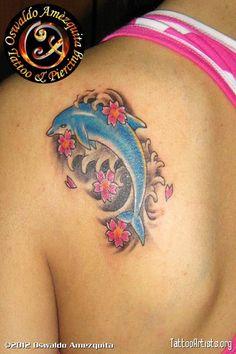 Girl Upper Back Dolphin Flower Tattoo