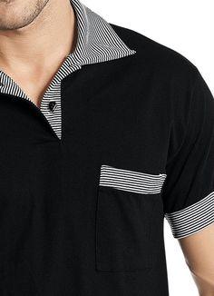 5582aa58da Conheça a Camisa Polo Misael - Manga Curta Preta com detalhes no bolso