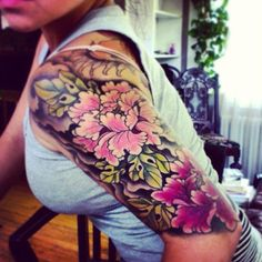 Peony tattoo on sleeve - 50 Peony Tattoo Designs and Meanings | Art and Design