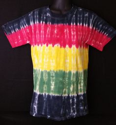 Hand Dyed Multi Color Rasta Tie Dye Shirt   Hanes Beefy-T 6.1oz Shirt Youth / Adult (SHORT or LONG SLEEVE)