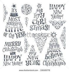 -Vector set of holidays lettering and ornamental elements. Merry Christmas and Ha… Vector set of holidays lettering and ornamental elements. Merry Christmas and Happy New Year text lettering for invitation and greeting card, prints. Happy New Year Text, Merry Christmas And Happy New Year, Merry Christmas Card, Christmas Greetings, Xmas Cards, Holiday Cards, Greeting Cards, Holiday Gifts, Fun Gifts