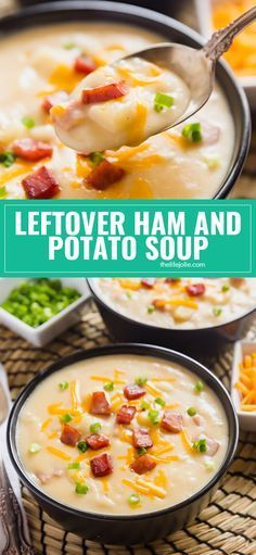 Leftover Ham and Potato Soup is the most delicious way to use leftover ham. It's super creamy and cheesy but also seriously easy to make! Made with potatoes, cheddar cheese, and ham, this one is a definite keeper! via @thelifejolie