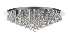 PLU0850 Pluto 8 Light Flush Fitting in Polished Chrome Crystal Glass Decoration Fully Assembled Earthed 8 x 40w G9 Lamps included Height 20cm Diameter 68cm