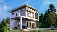 This Modern Two-storey House Design may Give you the Inspiration to Build your Own - Cool House Concepts Home Interior Design, Exterior Design, Interior And Exterior, Duplex Plans, Architectural House Plans, Two Story House Plans, Two Storey House, Kitchen Island With Seating, Modern House Design
