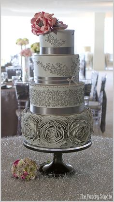 Gray & Pink Romantic Rosette Wedding Cake Design by The Pastry Studio: Daytona Beach, Florida.