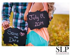 Save the Date Engagement with Chalkboards