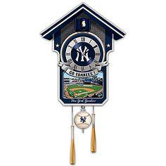 Cuckoo Clock: Moments Of Greatness: The New York Yankees Cuckoo Clock by The Bradford Exchange New York Yankees Stadium, Go Yankees, Yankees Logo, Yankees World Series, Mlb World Series, Precious Moments Figurines, Yankee Stadium, Nfl Team Apparel, Mlb Teams
