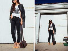 Black Skinnies, nude pumps, leather jacket