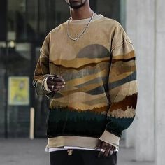 Casual Landscape Mountain Print Crew Neck Long Sleeve Sweatshirt for Men | Google Shopping Printed Sweatshirts, Men's Hoodies, Winter Hoodies, Personalized T Shirts, Custom T, Crew Neck Sweatshirt, Sweatshirt Outfit, Types Of Sleeves, Mens Fashion