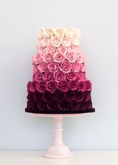 Featured Cake: Rosalind Miller Cakes; Elegant rose covered pink ombre wedding cake