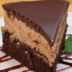 Three layers of chocolate for the chocolate lovers out there.. Triple Chocolate Mousse Cake Recipe from Grandmothers Kitchen.