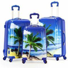 Olympia Luggage Palm Beach 3 Piece Polycarbonate Hardcase Set, Blue, One Size Carry On Luggage, Luggage Sets, Travel Luggage, Travel Bags, Luxury Luggage, Hard Sided Luggage, Cute Suitcases, Hardside Spinner Luggage, Alice