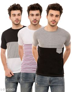 Tshirts Trendy Men's Cotton Blend Tshirts Combo Fabric: Cotton Blend Sleeves: Half Sleeves Are Included Size: S M L XL (Refer Size Chart)  Length: Refer Size Chart Fit: Regular Fit Type: Stitched Description: It Has 3 Pieces of Men's T-Shirts Pattern: Solid Country of Origin: India Sizes Available: S, M, L, XL   Catalog Rating: ★4 (500)  Catalog Name: Stylish Trendy Men's Cotton Blend Tshirts Combo Vol 9 CatalogID_284649 C70-SC1205 Code: 925-2145903-5631