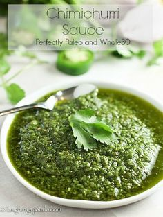 Chimichurri Sauce - a perfect condiment and marinade for most any cut of beef chicken fish or pork! Sauce Recipes, Paleo Recipes, Mexican Food Recipes, Cooking Recipes, Ethnic Recipes, Blender Recipes, Meal Recipes, Chutneys, Pesto