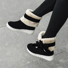 $16.99Winter Round Toe Flat Low Heel Slip On Ankle Bow Tie Black Snow Boots