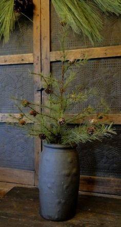 Prim Twiggy Pine...in an old crock.