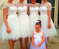 Sexy Bridesmaid Dress,Gorgeous White Short Tulle Party Dress with Applique, Short Formal Dresses, White Formal Dress Destination Bridesmaid Dresses, White Bridesmaid Dresses Short, Kids Bridesmaid Dress, Prom Dresses, Bridesmaids, Formal Dresses, Wedding Dresses, Short Dresses, Applique Dress