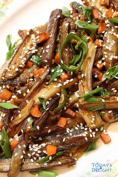 Stir-fry Bulgogi Eggplant is a Korean vegetable side dish, simple pan fried eggplant in a flavorful sauce. Bulgogi style complement eggplant when stir fried Side Dish Recipes, Vegetable Recipes, Asian Recipes, Vegetarian Recipes, Dinner Recipes, Asian Desserts, Dinner Ideas, Eggplant Side Dishes, Eggplant Recipes