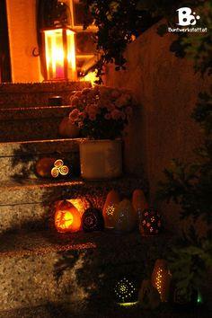 drilled pumpkin doorway Halloween