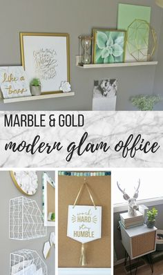 I love how my marble and gold office turned out! It's girly, glam, clean and all about marble, gold and mint. I love the fresh, modern glam feel of this home office. Home Office Paint Ideas, Home Office Design, Home Office Furniture, Office Ideas, Office Inspo, Design Desk, Office Themes, Office Designs, Furniture Stores