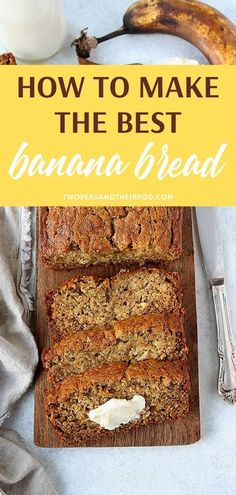 banana bread recipe Tips for turning your brown bananas into the best banana bread ever! This classic banana bread recipe is easy to make and a family favorite! It is guaranteed to be your go to banana bread recipe! Easy Bread Recipes, Banana Bread Recipes, Baking Recipes, Banana Bread Recipe Without Vanilla, Eggless Banana Bread Recipe, Best Banana Bread, Banana Bread With 2 Bananas, Applesauce Banana Bread, Easy Healthy Banana Bread