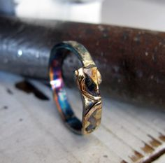 Viking Ring Man Wedding Band Gold Silver by HotRoxCustomJewelry