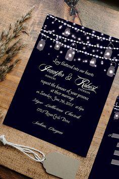 mason jars and string lights inspired sparkling rustic wedding invitations