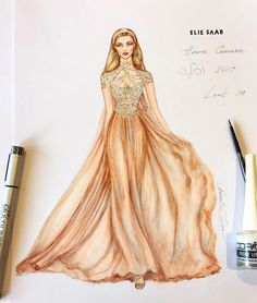 Natalia Zorin Lou: Marker Sketch of Elie Saab, Haute Couture, Spring/Summer 2017
