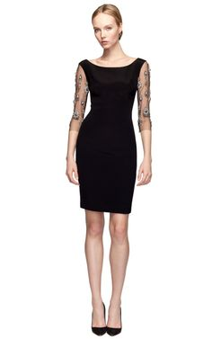 Shop Crepe Sheath Dress With Embroidered Sleeves by Marchesa Now Available on Moda Operandi