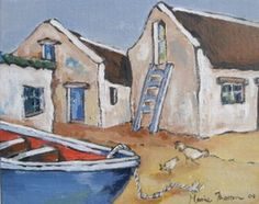 Art Matters by Marie Theron : The Blue Ladder Boat Painting, Painting Collage, Fabric Painting, Watercolor Sketch, Watercolor Paintings, Acrylic Painting For Beginners, South African Artists, Mini Canvas Art, Beach Art