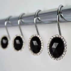 Your place to buy and sell all things handmade Black Jewel, Shower Curtain Hooks, 2 Set, Black Heart, Black Crystals, Bathroom Ideas, Chrome, United States, Gems