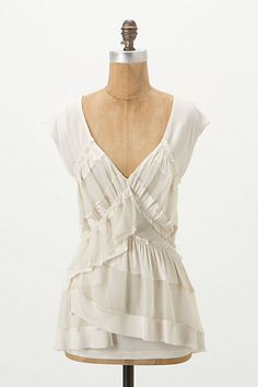 Striped Flight V-Neck #anthropologie. Higher neckline and I'd have to find two cheaper shirts for the ruffles.