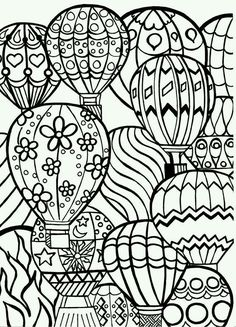 Coloring Page for Adults Hot Air Balloons Hand by BigTRanchSoap zentangle Adult Coloring Pages, Coloring Pages For Grown Ups, Coloring Pages To Print, Free Printable Coloring Pages, Coloring For Kids, Colouring Pages, Coloring Sheets, Coloring Books, Free Coloring