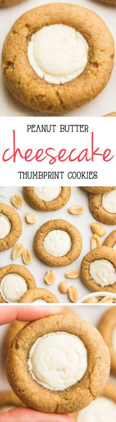 Skinny Peanut Butter Cheesecake Thumbprint Cookies -- this healthy recipe is…