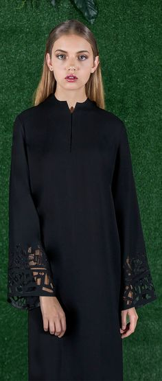 Signature Cut with Lace and Geometric Design Lasercut-- Ramadan Eid Mauzan Abaya Fashion, Ethnic Fashion, Modest Fashion, Look 2017, Arabic Dress, Rajputi Dress, Hijab Trends, Muslim Women Fashion, Abaya Designs