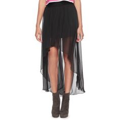 High-low-skirt Polyester black high-low-skirt Skirts High Low