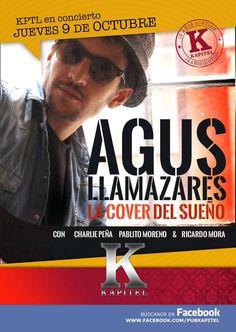 Jueves 9 de Octubre a las 23:00 en KAPITEL (La Laguna) Primera puesta en escena del repertorio de versiones de AGUS LLAMAZARES & LA CURA DEL SUEÑO