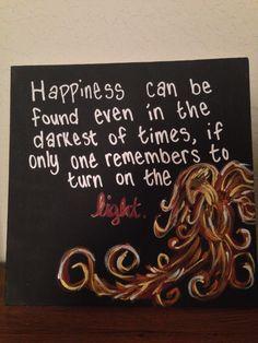 DIY painted canvas Dumbledore quote