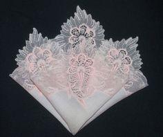 Vintage Wedding handkerchief SOMETHING OLD pink lace on pink BRIDE MEMORY hanky