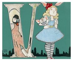 V is for Vanish 9x7.5 Wonderland Alphabet Print by JKLee on Etsy