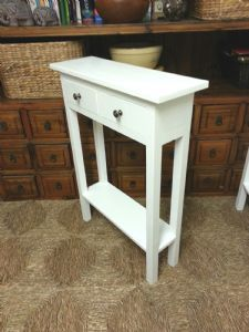 CONSOLE HALL TELEPHONE TABLE WITH 2 SMALL DRAWERS WHITE SATIN 50CM TALL Small Entrance, Entrance Table, Telephone Table, Plant Table, Bedroom Table, Small Drawers, Hallway Decorating, Diy Home Crafts, White Satin