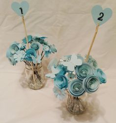 Table numbers. Wedding centerpiece. paper roses. rustic wedding. Tiffany wedding. Tiffany centerpieces. TIffany