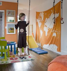 Rain or shine, your little monkeys treat the living room like their own personal jungle gym. Add an indoor swing and you've got yourself the real deal.