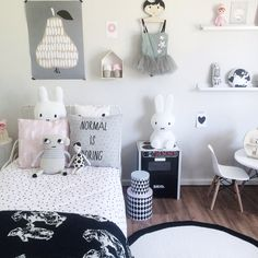 Shared Scandi inspired Monochrome girls bedroom including Miffy lamp and Darling…