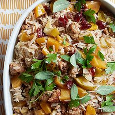 This hearty stuffing is brimming with holiday flavors like butternut squash, cranberry, apple, and sage. /
