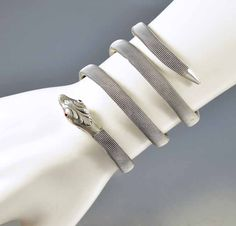 Antique Victorian Sterling Silver Mesh Snake Bracelet   #Paste #Antique #Silver #Bracelet #ngagement #Victorian #Snake #Sterling #Ruby #Anchor